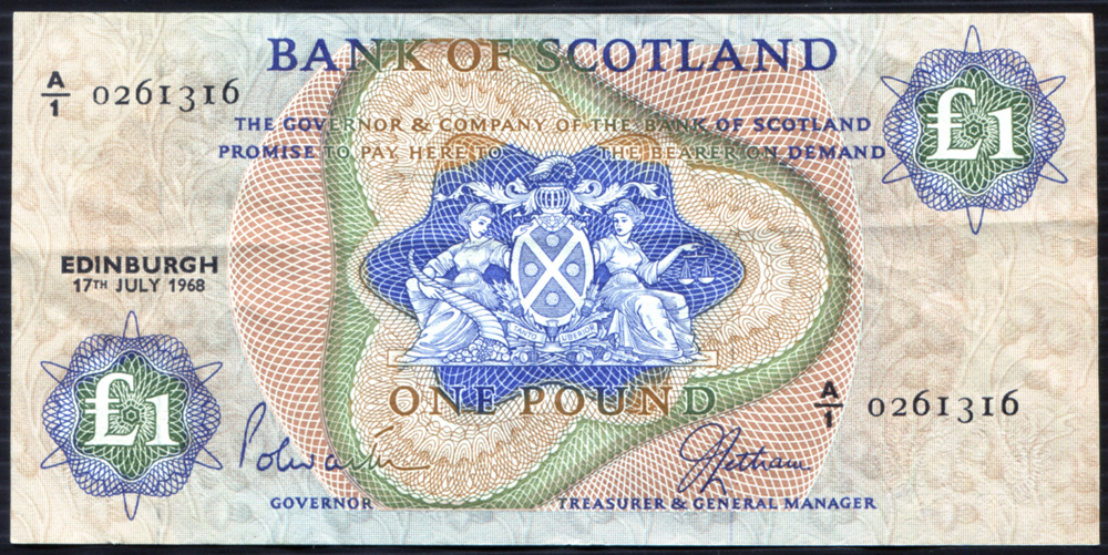 Bank of Scotland 17th July 1968 £1 (A/I 0261316) EF, P.109a.