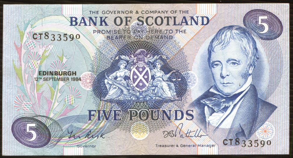 Bank of Scotland 1984 Sir Walter Scott £5 'Risk/Patullo' (CT833590) EF, P.112e.