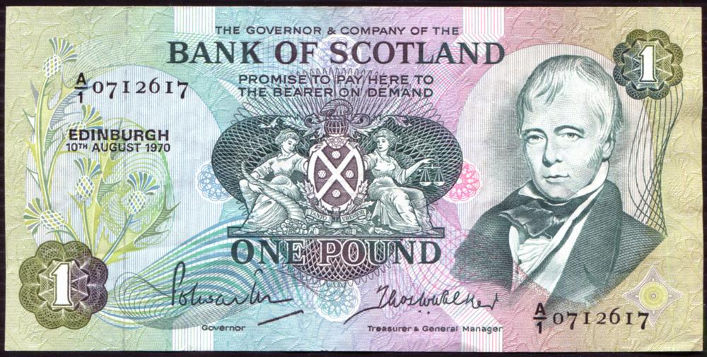 Bank of Scotland 1970 Sir Walter Scott £1 'Polwarth/Walker' (A/1 07I26I7) EF, P.S111a.