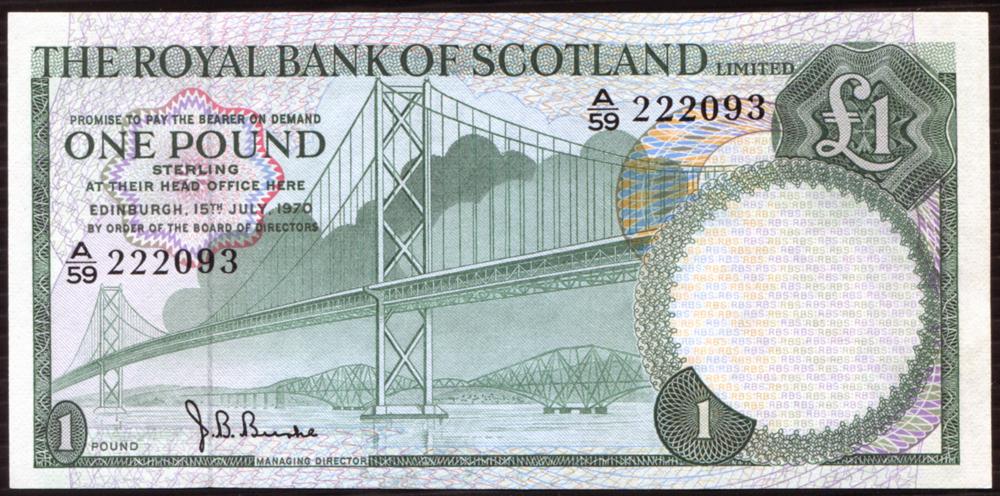 Royal Bank of Scotland 1970 Forth Road Bridge £1 (A/59 222093) A/UNC, P.329a.
