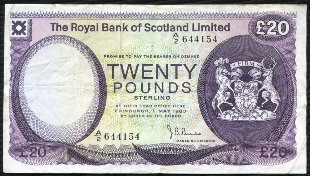 Royal Bank of Scotland 1980 purple on multi-colour £20 (A/2 644154) Fine+, P.339.