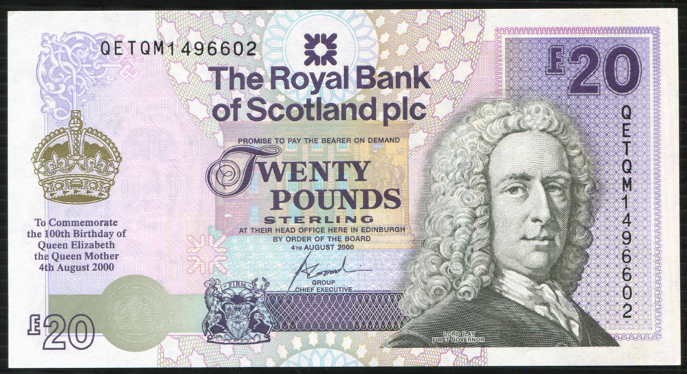Royal Bank of Scotland 2000 Birth Cent of Queen Mother £20 commemorative issue, A/UNC, P.361.