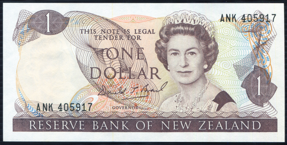 New Zealand 1989-92 $1 dark brown (ANK 405917) UNC, P169c.