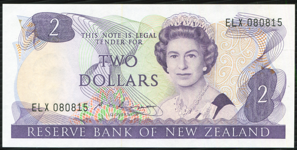 New Zealand 1985-89 $2 purple on multi-colour 'Russell' (ELX 080815) UNC, P170b.