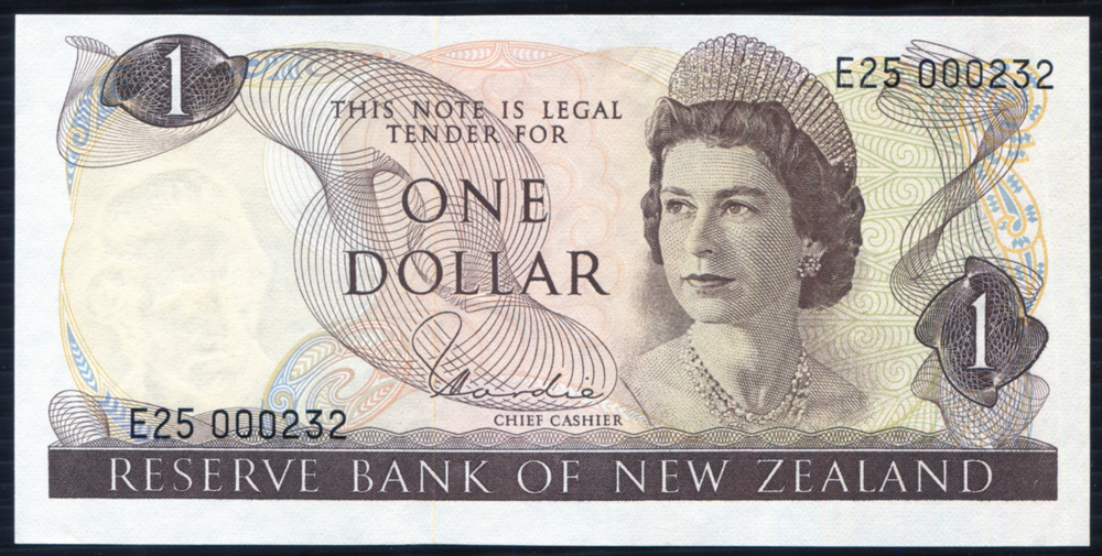 New Zealand 1977-81 $1 brown 'Hardie' (E25 000232) UNC, P.163d.