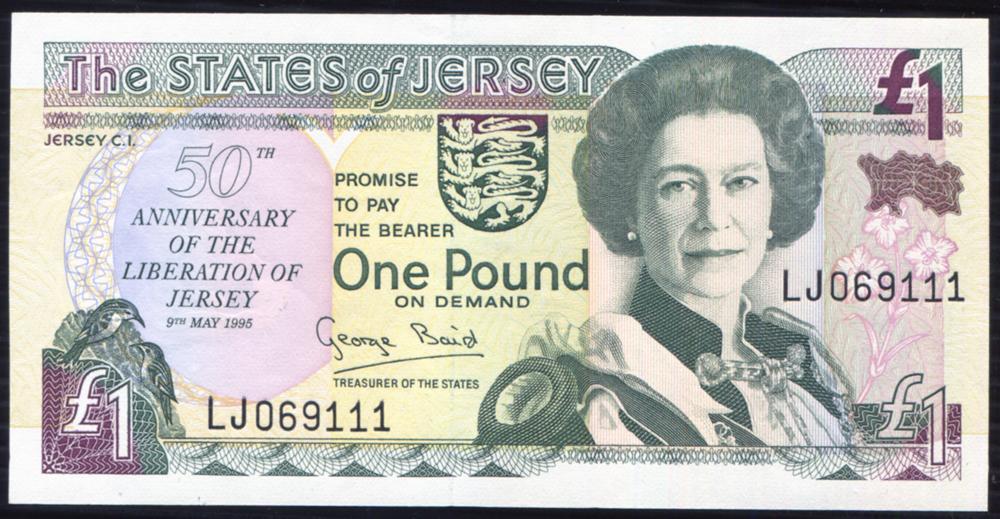 Jersey 1995 £1 German Occupation on reverse (LJ069111) UNC, P.25a.