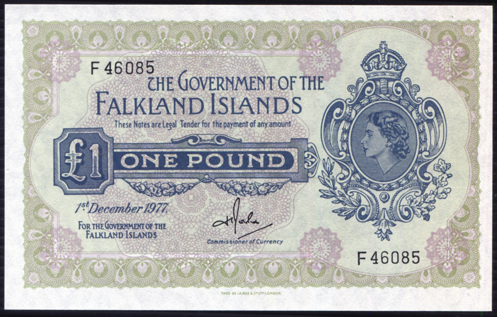 Falkland Islands 1977 £1 Rowlands (F46085) A/UNC, P.8c.