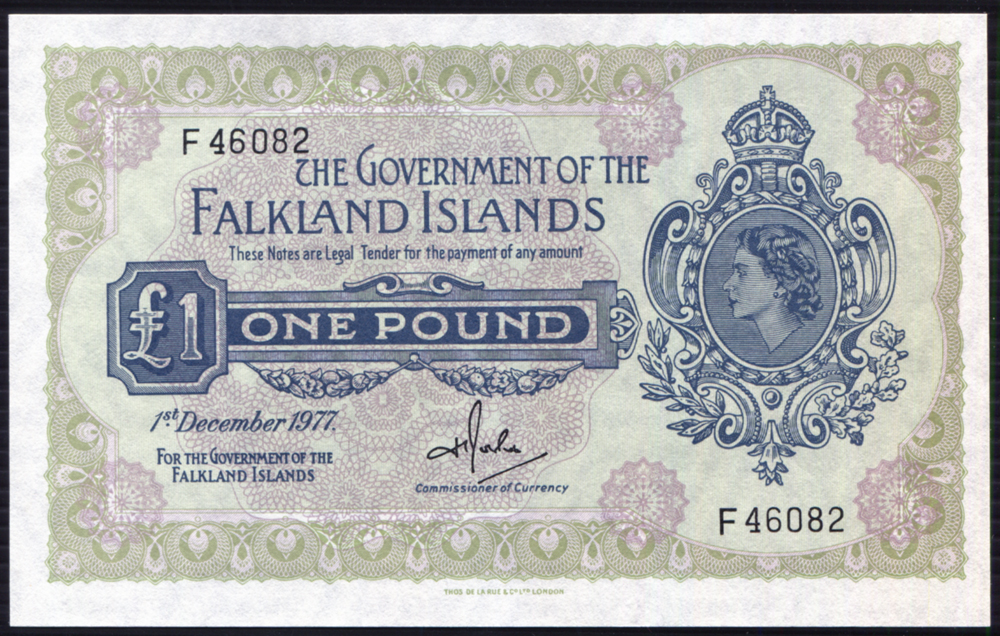 Falkland Islands 1977 £1 Rowlands (F46082) A/UNC, P.8c.