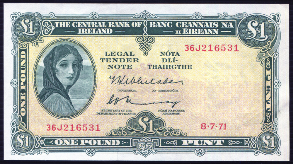 Ireland 8th July 1971 £1 green & pale gold Lady Hazel Lavery (36J216531) A/UNC, P.64c.