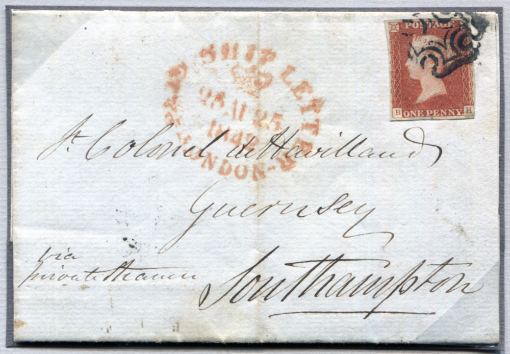 1842 1d red-brown (BH) London to Guernsey via Southampton endorsed 'via private steamer'