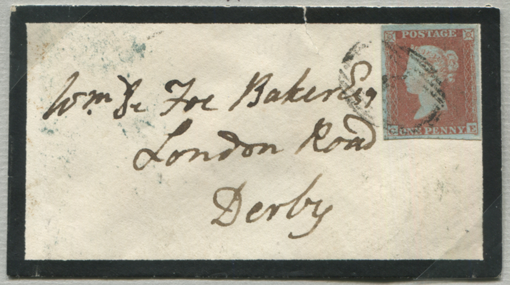 1853 1d red-brown (CE) on mourning envelope from Alfreton to Derby