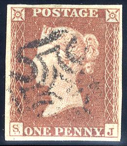 1841 1d red-brown (SJ) double letter 'S,' fine part strike of black Maltese Cross