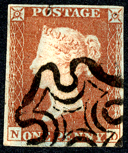 1841 1d red-brown (ND), neat black Maltese Cross