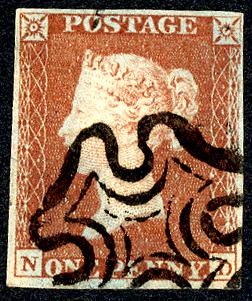 1841 1d red-brown (ND), neat black Maltese Cross