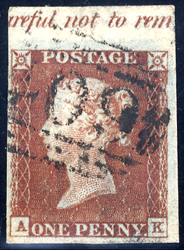 1841 1d red-brown (AK), part top selvedge with inscription, scarce '409' numeral of JERSEY