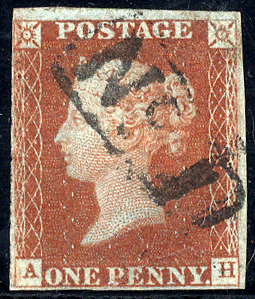 1845/47 1d red-brown (AH), Littlehampton boxed No.1 right hand cancel