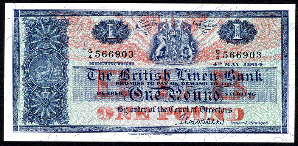 British Linen Bank 1964 May £1 'Walker' (G/4 566903) EF+, P.166c.
