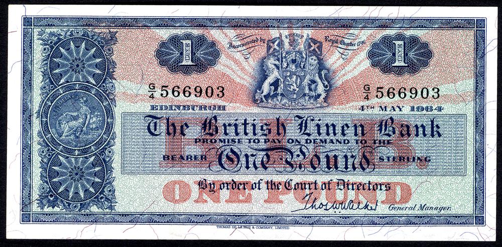 British Linen Bank 1964 May £1 'Walker' (G/4 566903) EF+, P.166c.