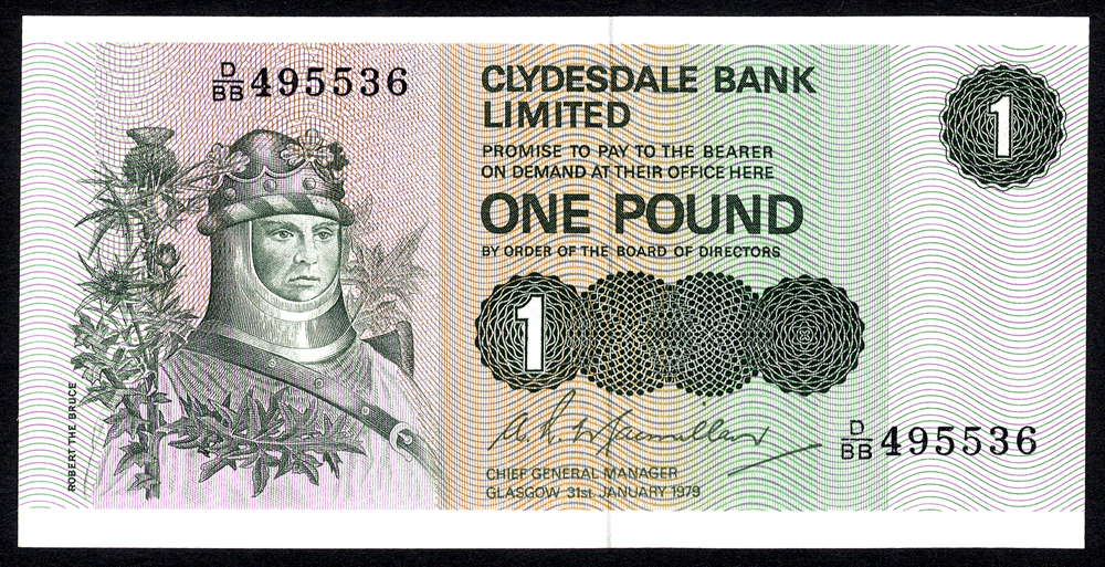 Clydesdale Bank Ltd 1979 £1 'MacMillan' Robert the Bruce (D/BB 495536) UNC, P.204c.