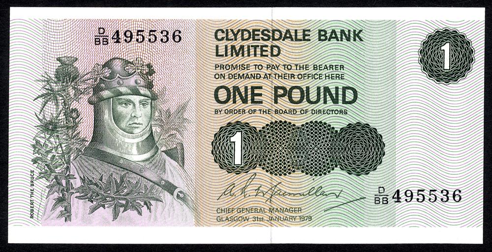 Clydesdale Bank Ltd 1979 £1 'MacMillan' Robert the Bruce (D/BB 495536) UNC, P.204c.