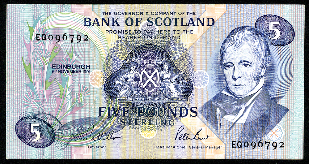 Bank of Scotland 1991 Nov Sir Walter Scott £5 'Pattullo/Burt' (EQ096792) VF+, P.116b.