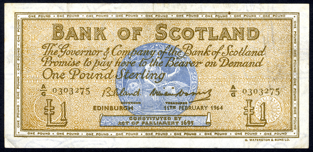 Bank of Scotland 1946 Feb £1 'Bilsland/Watson' (A/G 0303275) VF, P.102a.