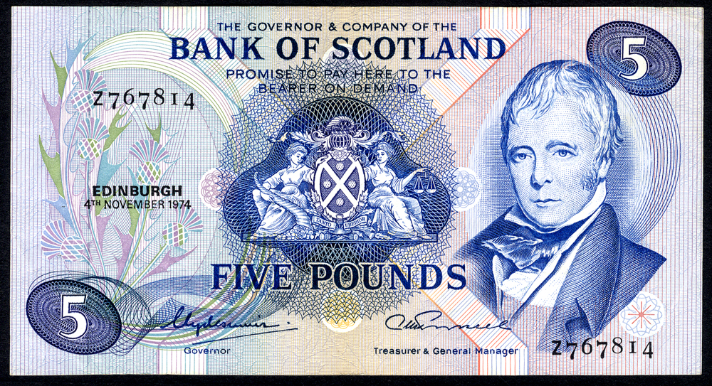 Bank of Scotland 1974 £5 'Clydesmuir/Russell' (Z767814) EF++, P.111c.