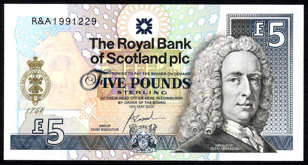 Royal Bank of Scotland 2004 £5 St. Andrews commemorative (R&A 1991229) UNC, P.363.