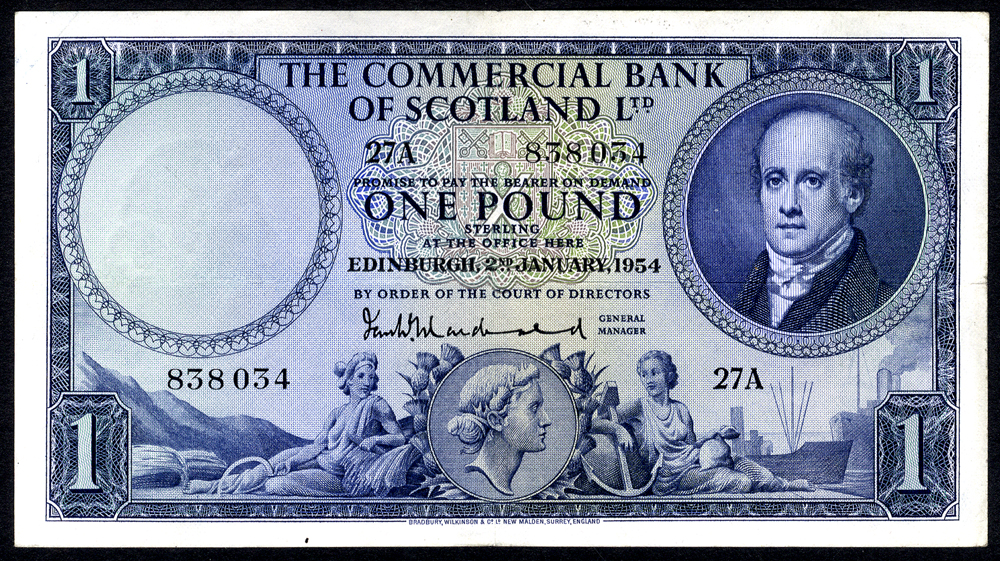 Commercial Bank of Scotland 1954 MacDonald £1 Lord Cockburn (27A 838034), EF.