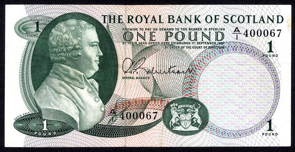 Royal Bank of Scotland 1967 £1 Dale (A/I 400067) EF, P.327a.