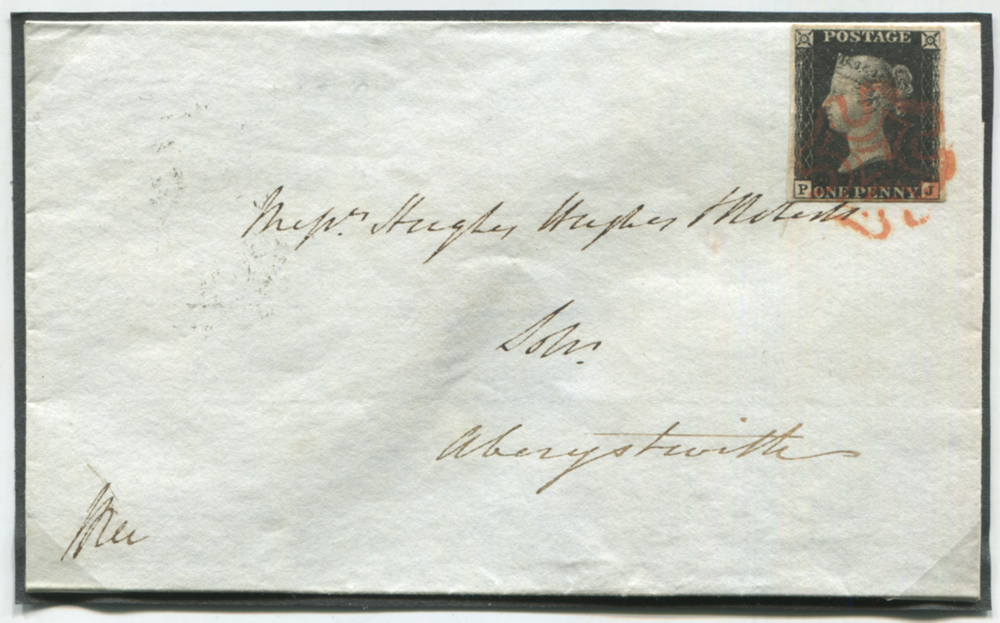 1840 Aug 19th cover to Aberystwith, franked Pl.5 PJ