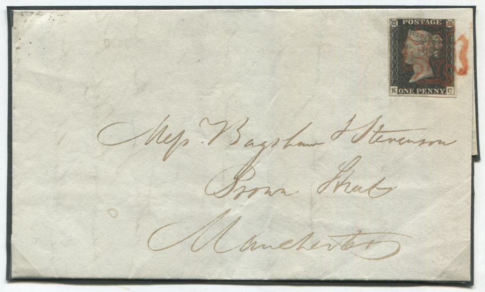 1840 July 2nd cover from London to Manchester, franked Pl.3 KC