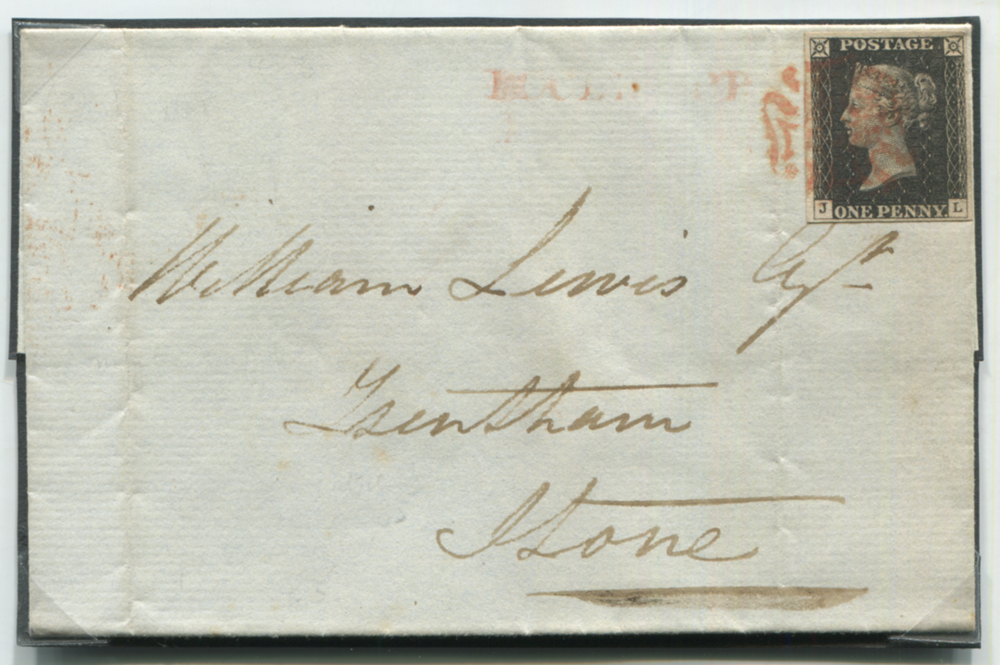 1840 Oct 12th cover from Manchester to Stone, franked Pl.3 JL