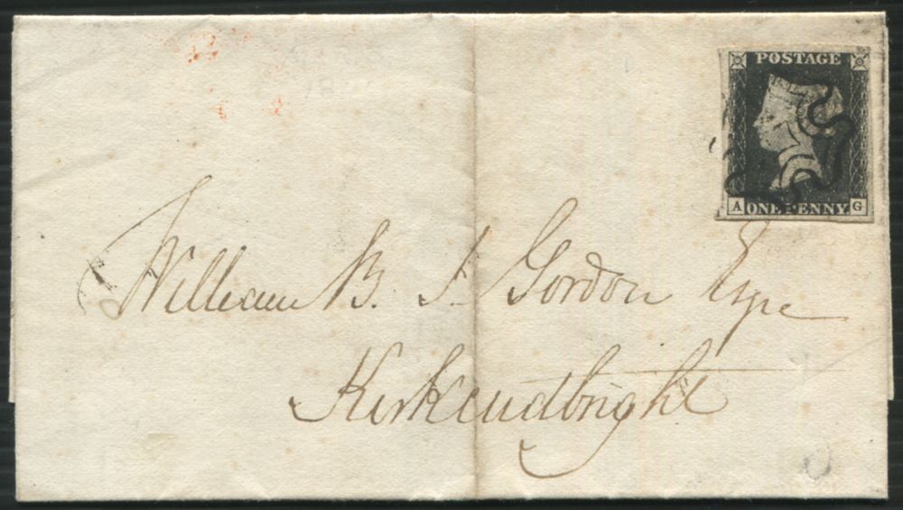 1841 March 2nd cover from Edinburgh to Kirkcudbright, franked Pl.7 AG