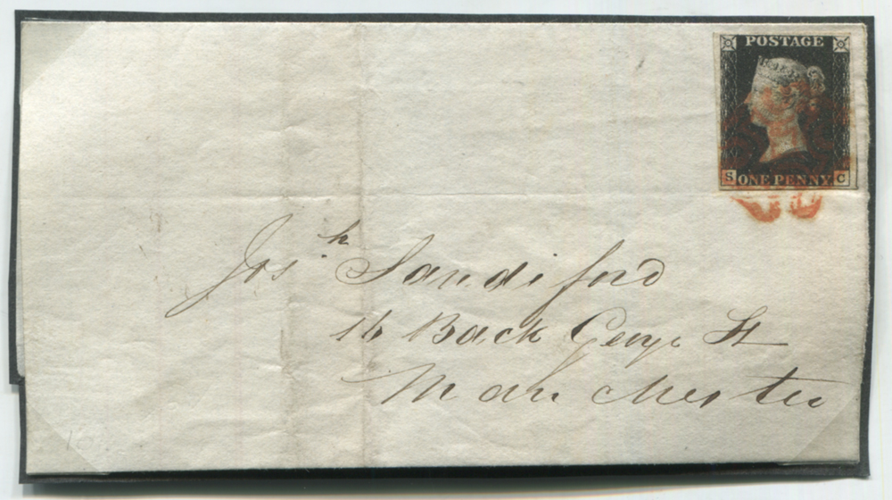 1841 Feb 2nd front & back flap addressed to Manchester, franked Pl.6 SC