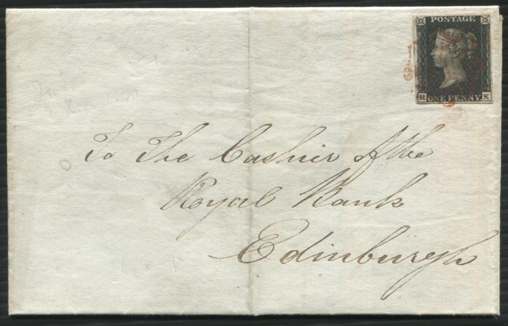 1840 Dec 2nd cover from Irvine to Edinburgh, franked Pl.5 HK