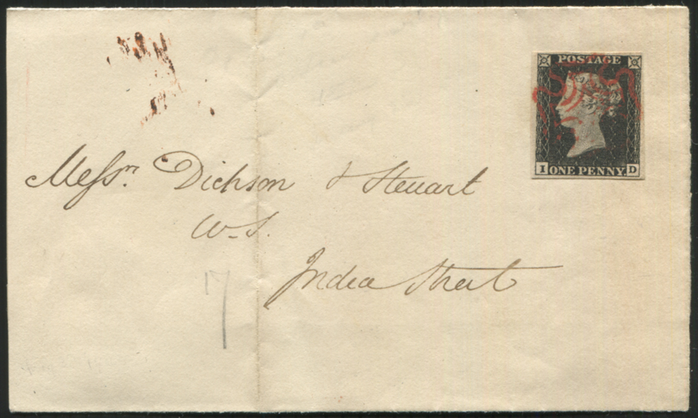 1840 May 28th wrapper used locally in Edinburgh, franked Pl.1a ID