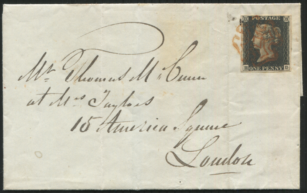 1840 Aug 19th cover from Greenock to London, franked Pl.4 HD
