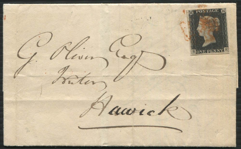 1840 Nov 11th cover from Port Glasgow to Hawick, franked Pl.2 SE