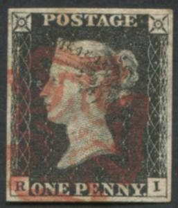 1840 1d black - Plate 4 RI