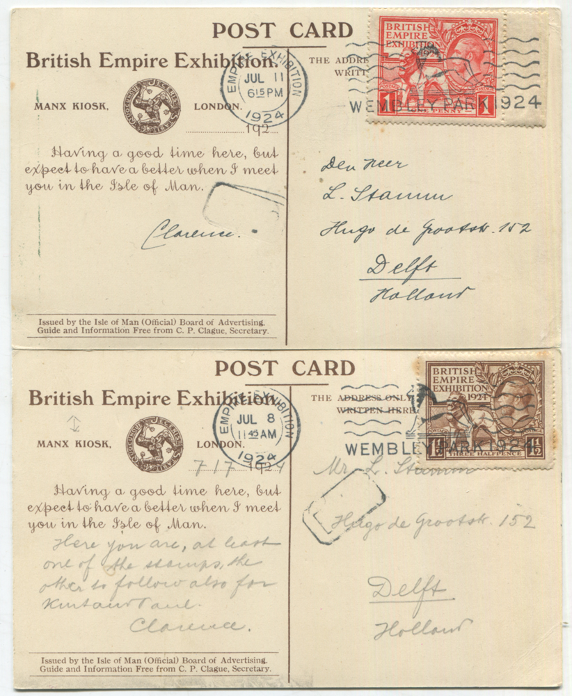 1924 British Empire Exhibition 1d & 1½d, each on a Manx Kiosk PPC