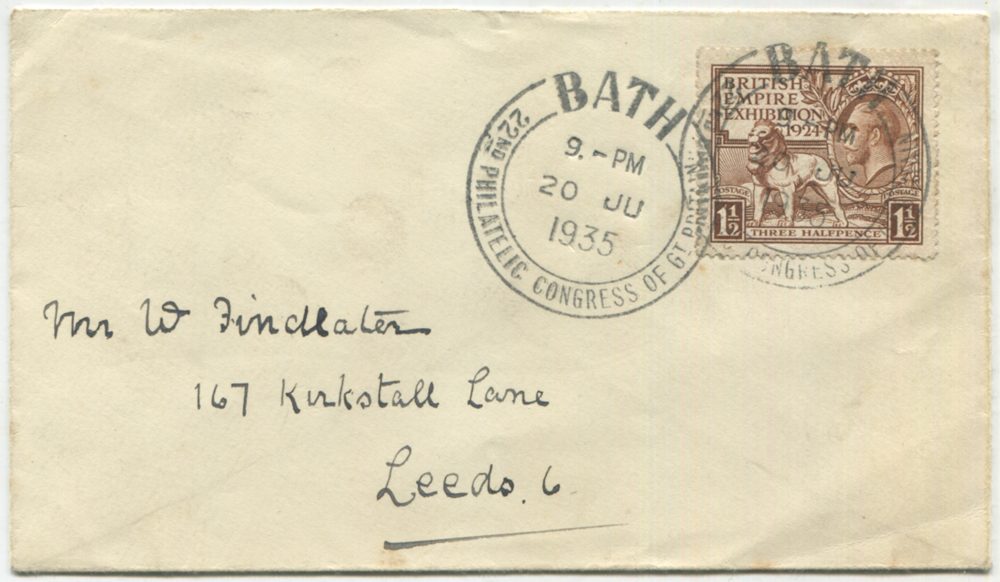 1935 BATH 22nd Philatelic Congress of Great Britain double ring special cancel