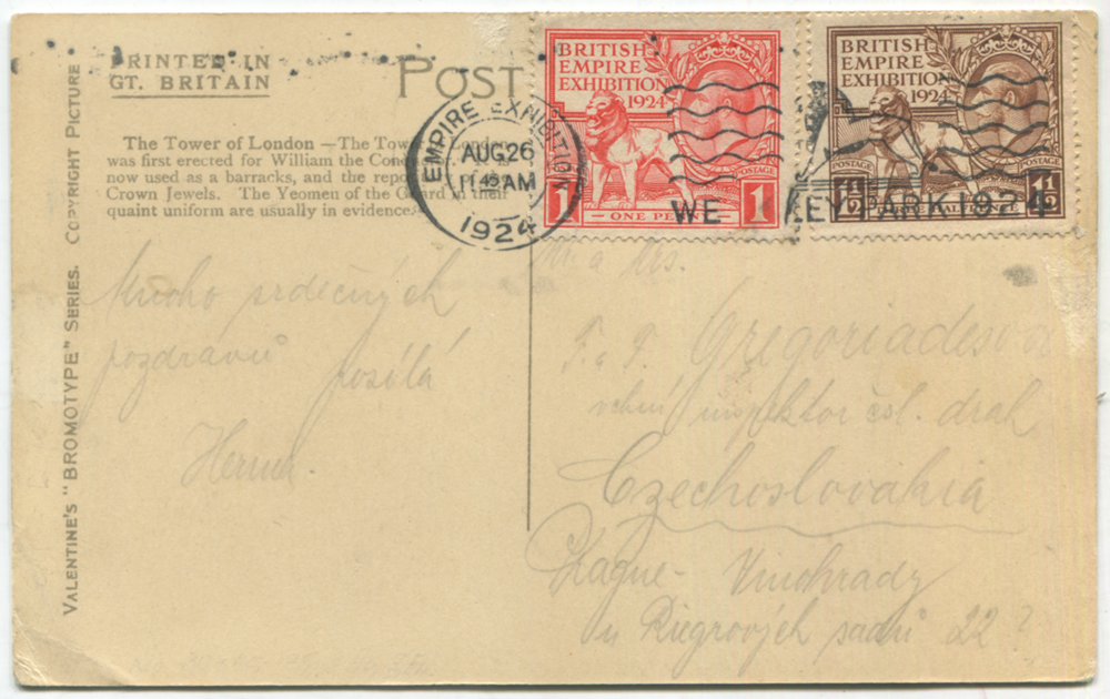 1924 British Empire Exhibition set on a PPC to Vinohrady, Prague