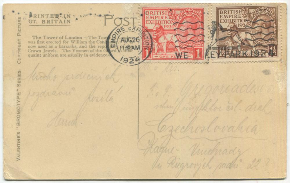 1924 British Empire Exhibition set on a PPC to Vinohrady, Prague