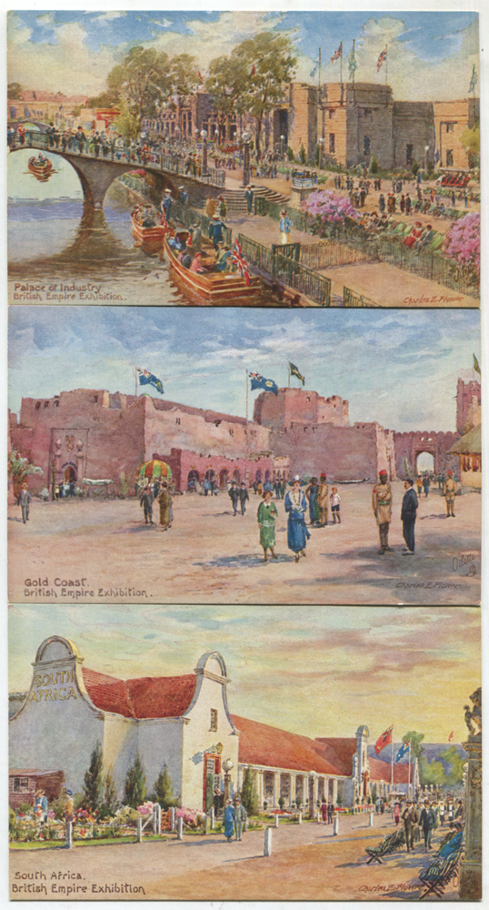1924 British Empire Exhibition series II, six 'Oilette' colour postcards by Raphael Tuck & Sons Ltd