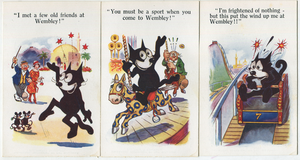 1924 British Empire Exhibition set of six comic Felix series cards by Fleetway Press Ltd
