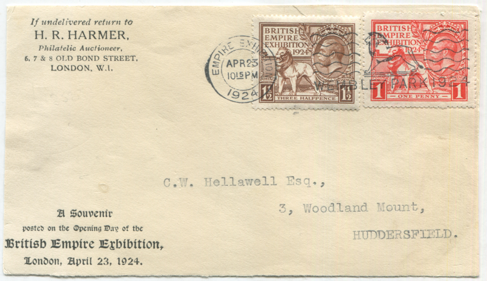 1924 Wembley Exhibition set on a H. R. Harmer souvenir FDC front