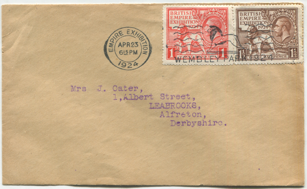 1924 Wembley Exhibition set on plain FDC