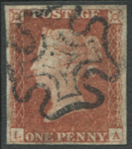 1841 1d red - Plate 19 LA