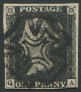 1840 1d black - Plate 6 QA